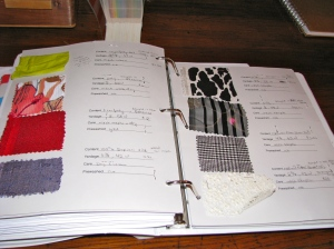 "Fabric swatches and details in my ""Big Book"""