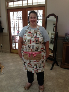 Mae's apron.  The ribbon on the pocket was her design!