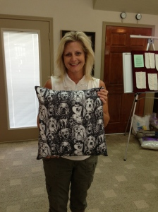 Kristi and her pretty zippered throw pillow