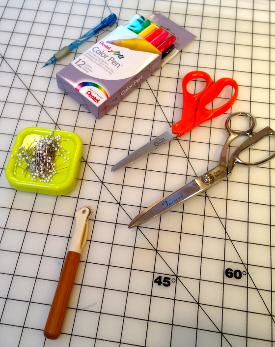 Most sewers will already have these items on hand: pins and holder, paper and fabric scissors, and a variety of marking pens and pencils.  The pens and pencils pictured here are for making patterns, not fabric.