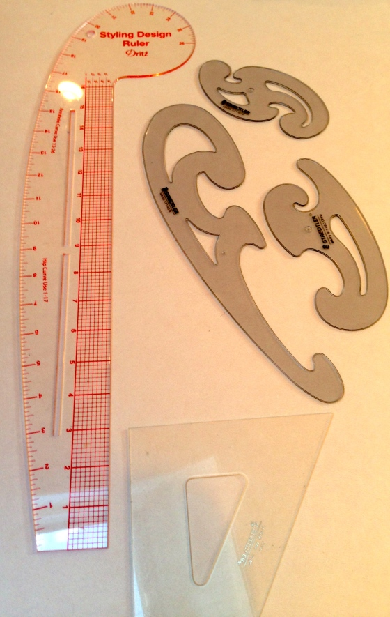 The French curve and other rulers are used to shape patterns at the armholes, hips, and other areas.  Not pictured are the vary form curve and the hip curve,both of which I have on order.