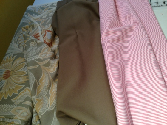 From Left to Right:  Silk Chiffon, Tropical-weight Wool, Cotton Shirting