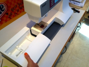 Most modern machines have a Free-Arm design.  My Pfaff has a removable bed.  This design makes sewing in a small circle much easier, such as a sleeve or in this small pillowcase.