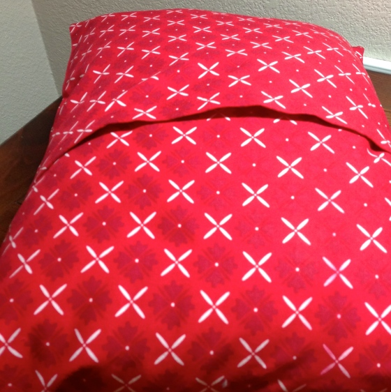 The back of the pillowcase should look like this when you get the pillow inserted and adjusted