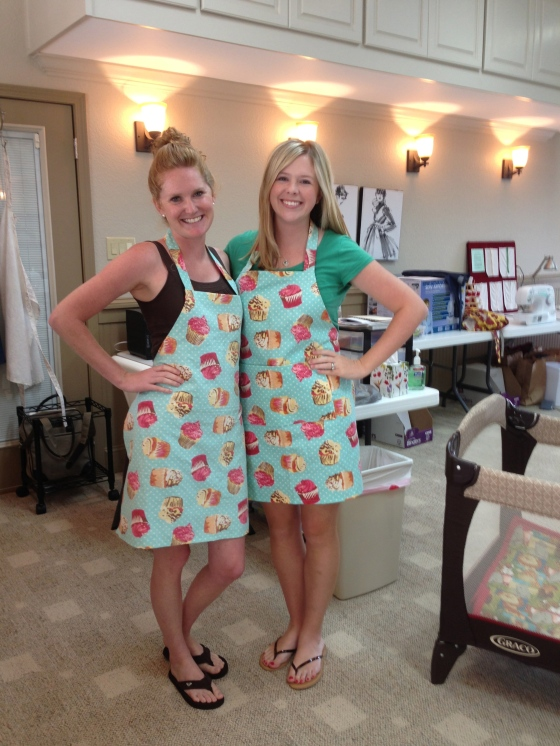 Kathleen and Elise chose the same fabric for their aprons