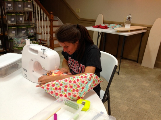 Julie working hard on her tote bag in 102