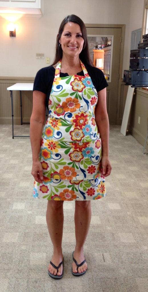 Dana chose a colorful fabric for her apron