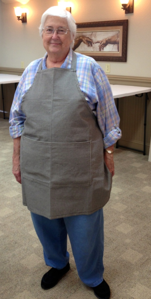 Mary chose a sturdy gingham for her pretty apron