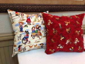 Our Zippered Throw Pillow pattern becomes a beautiful home decor item when our students choose great fabrics!